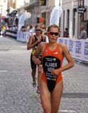 Triathlete Rachel Klamer running Royalty Free Stock Photo