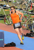 Triathlete on transition zone Stock Photo