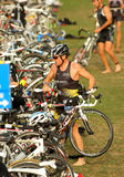 Triathlete on transition zone Royalty Free Stock Image