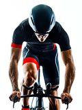 Triathlete triathlon Cyclist cycling silhouette isolated white b royalty free stock image