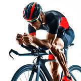 Triathlete triathlon Cyclist cycling silhouette isolated white background royalty free stock photos