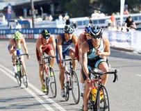 小组triathletes循环 库存图片