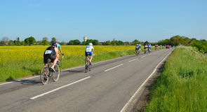 Triathletes on cycling stage racing on public road, moving away. Royalty Free Stock Photo