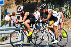Triathletes. Sportsmen. TRIATHLON Royalty Free Stock Image