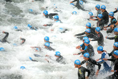 Triathletes on Start Royalty Free Stock Photo