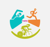 Triathletes are swimming running and cycling icon in colorful circular graphic. Royalty Free Stock Images