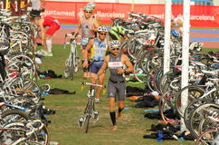 Triathletes on transition zone Stock Images