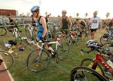 Triathletes on transition zone royalty free stock images
