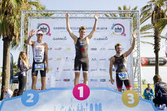 Triathlon Βαρκελώνη - εξέδρα ατόμων Στοκ φωτογραφία με δικαίωμα ελεύθερης χρήσης