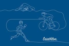 triathlon Γραμμική γραμμή γραφική Στοκ εικόνες με δικαίωμα ελεύθερης χρήσης