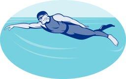 Triathlon athlete swimming. Illustration of a Triathlon athlete swimming freestyle side Royalty Free Stock Image