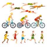 Triathlon athletes design stylized symbolizing competition race athlete man character vector. Royalty Free Stock Photography