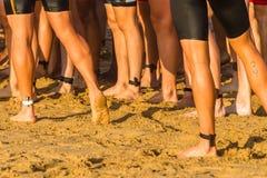 Triathlon Athletes Legs Beach Ocean Swim stock image