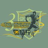 Triathlon badge with runner and icons, vector image stock illustration