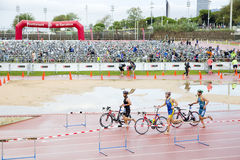 Triathlon Barcellona - ciclando Immagine Stock Libera da Diritti