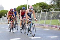 Triathlon Barcellona - ciclando Immagini Stock