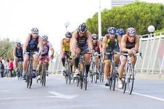 Triathlon Barcellona - ciclando Immagini Stock Libere da Diritti