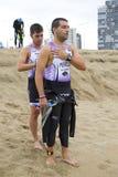 Triathlon Barcellona - nuoto Immagine Stock Libera da Diritti