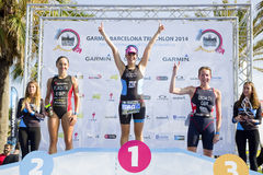 Triathlon Barcellona - podio delle donne Immagini Stock Libere da Diritti