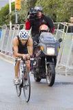 Triathlon Barcelona - completando un ciclo Foto de archivo libre de regalías