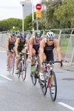 Triathlon Barcelona - completando un ciclo Fotografía de archivo libre de regalías