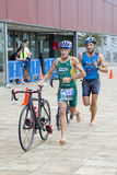 Triathlon Barcelona - Cycling Royalty Free Stock Images