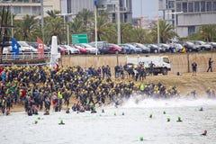 Triathlon Barcelona - natación Imagen de archivo libre de regalías