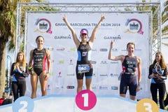Triathlon Barcelona - podio de las mujeres Imágenes de archivo libres de regalías