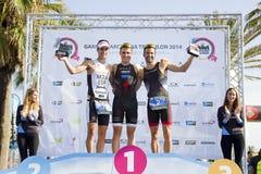 Triathlon Barcelona - podio de los hombres Imágenes de archivo libres de regalías