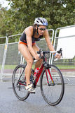 Triathlon Barcelona - radfahrend Lizenzfreie Stockbilder