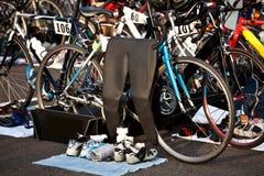 Triathlon-Übergangs-Bereich Lizenzfreie Stockfotos