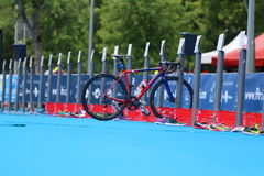 Triathlon bike transition sport healthy exercise. A lone bike in transition at the European Triathlon Sprint Championships Stock Photo