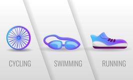 Triathlon, ciclante, nuoto, insegna corrente di concetto, stile del fumetto illustrazione vettoriale