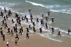 Triathlon Comillas (Spain) Royalty Free Stock Photos