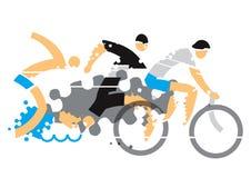 Triathlon Competition grunge stylized. stock illustration