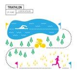 Triathlon de sport de carte Images stock
