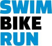 Triathlon del funcionamiento de la bici de la nadada ilustración del vector