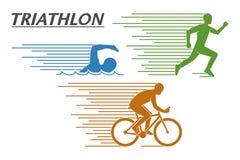 Triathlon di logo di vettore su un fondo bianco Immagini Stock