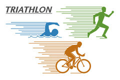 Triathlon do logotipo do vetor em um fundo branco Imagens de Stock