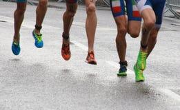 Triathlon feet and legs-2 Stock Photos