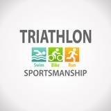 Triathlon fitness symbol icon. Triathlon swim bike run fitness symbol icon Royalty Free Stock Photos