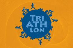 Triathlon. Triathlon graphic and text. Triathletes are swimming running and cycling around the world in circular shape Royalty Free Stock Photos