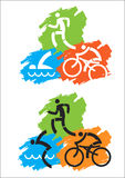 Triathlon grunge icons. Grunge background with Icons symbolizing triathlon, swimming, running and cycling. Vector illustration Stock Photography