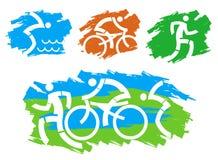 Triathlon grunge stylized icons. stock illustration