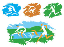 Triathlon grunge symbols. Icons symbolizing triathlon, swimming, cycling and outdoor sports. Vector illustration Stock Photo