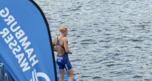 Triathlon Hamburgo del mundo del ITU Foto de archivo libre de regalías