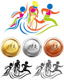 Triathlon icon and sport medals Stock Photography