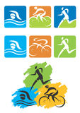 Triathlon icons buttons Royalty Free Stock Photos