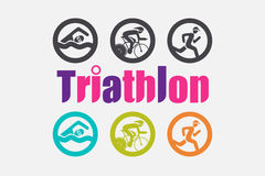 Triathlon icons in colorful and Black and White version. Royalty Free Stock Photo