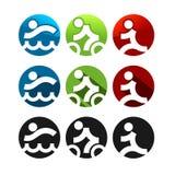 Triathlon Icons. Three different styles, round shape Stock Photos
